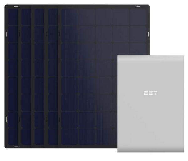 EET Solmate B Speichersystem mit 5 Paneelen für Balkon schwarz