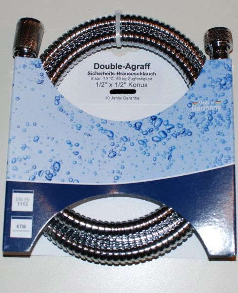 "Brauseschlauch-Metall Double-Agraff 1/2"" 1250 mm, verstärkte Ausführung, verchromt"