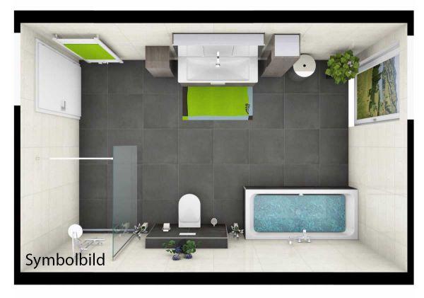 Traumbad-Fine WT mit Möbeln von Burgbad, Dusche und BW , WC, Bad-HK; Option mit Montage