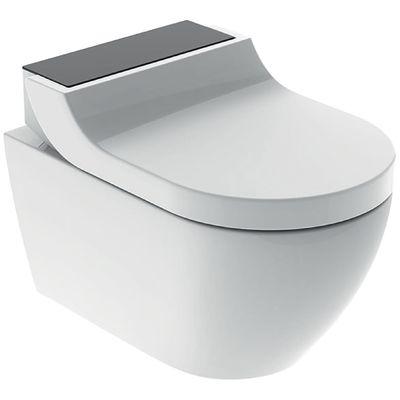 Geberit AquaClean Tuma Comfort Dusch Komplettset Wand WC mit Duschsitz schwarz/Glas 146.290