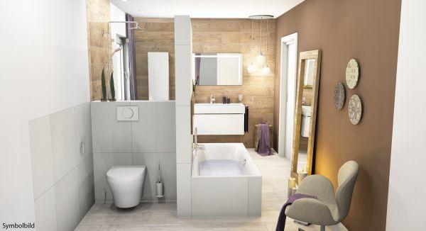 Traumbad-Irland WT mit Möbeln, Dusche und BW , WC, Option mit Montage
